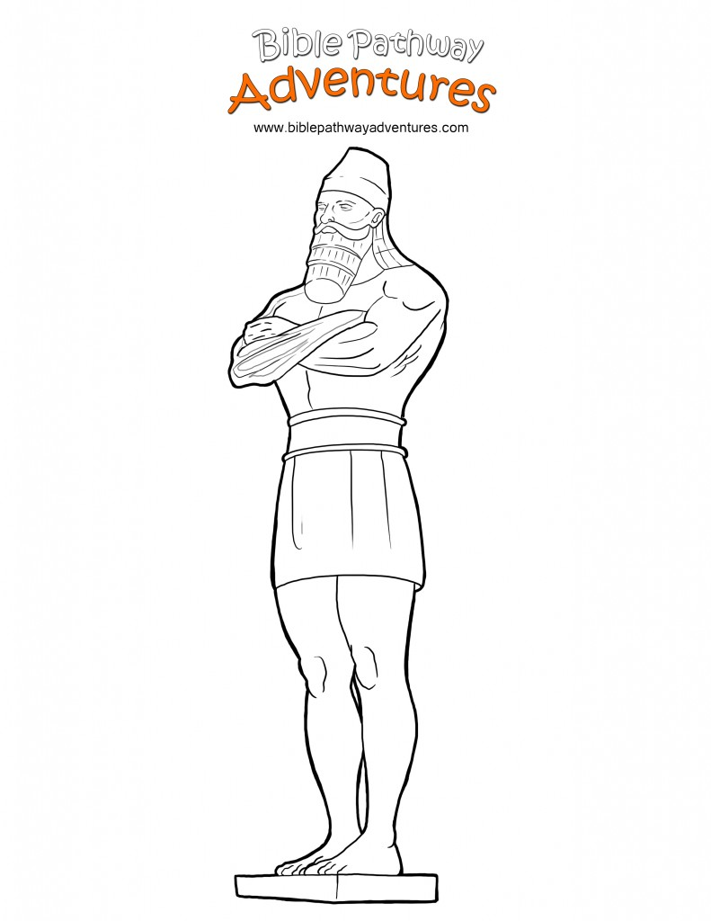 Statue and Nebuchadnezzar Coloring Page