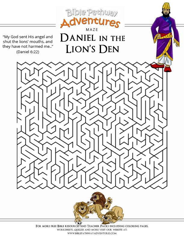 Bible Maze Puzzle: Daniel in the Lionu0026#39;s Den : Free Download