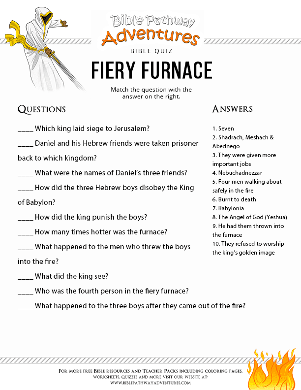 Free Bible Quiz - Fiery furnace bible quiz Shadrach, Meshach ...