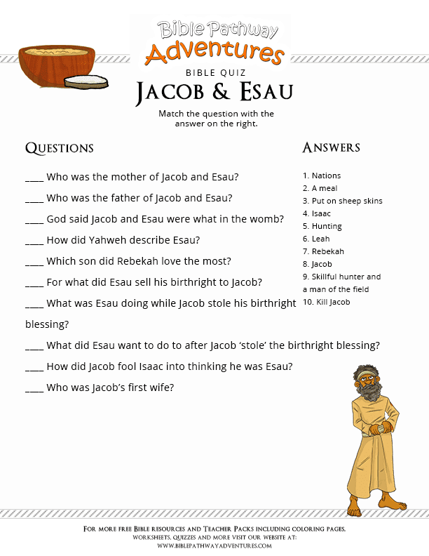 Bible Quiz for Kids: Jacob and Esau : Free Download