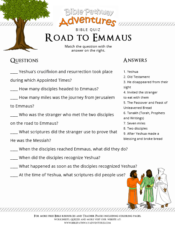 Bible Quiz for Kids Road to Emmaus  Free Download