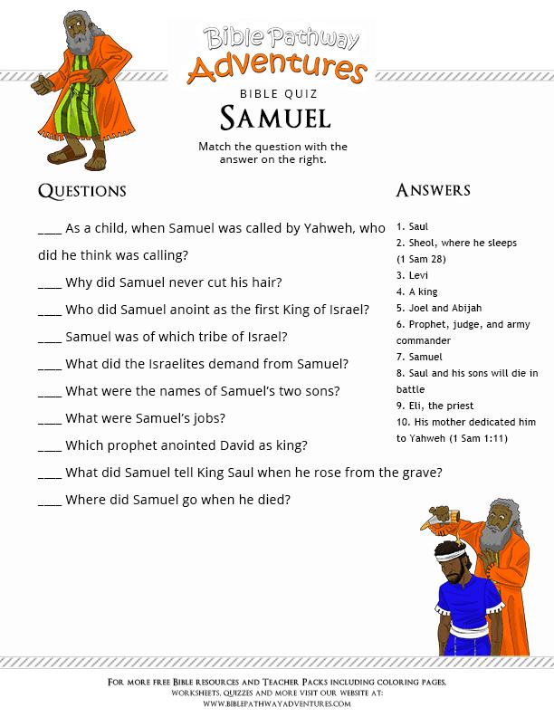 Printable Bible Quiz The Prophet Samuel Free Download
