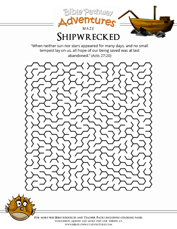 Free Worksheets free printable word search worksheets : Bible Maze Puzzle: Paul is Shipwrecked : Free Download