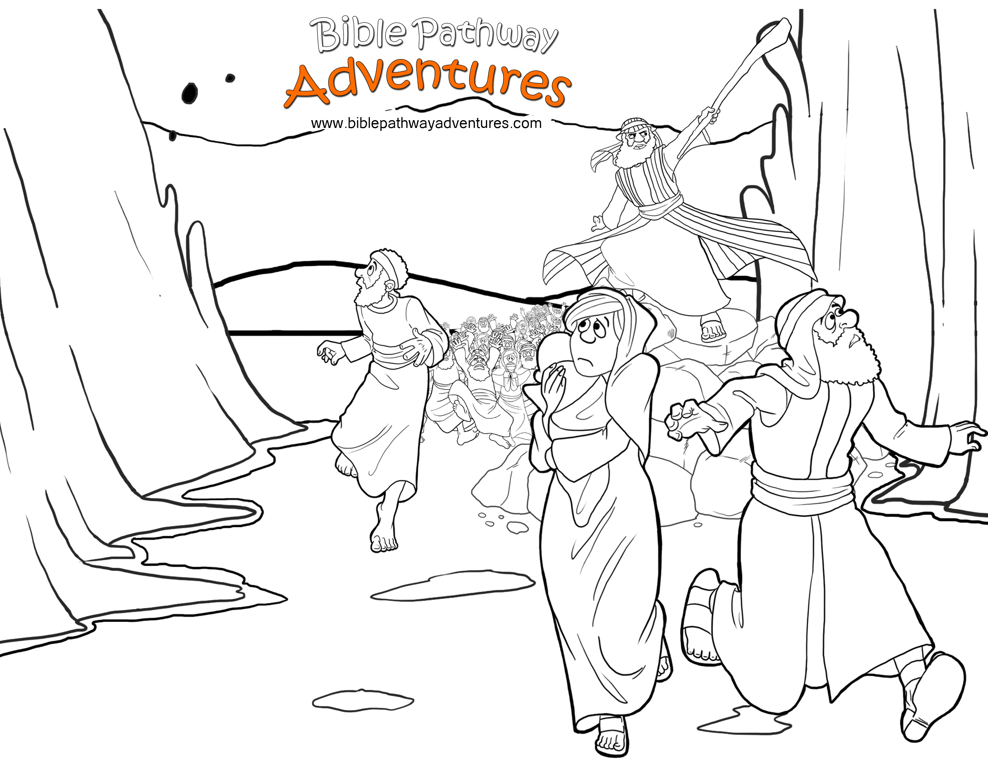 moses red sea crossing coloring pages | Free Printable Bible Coloring Page: Exodus Red Sea Crossing