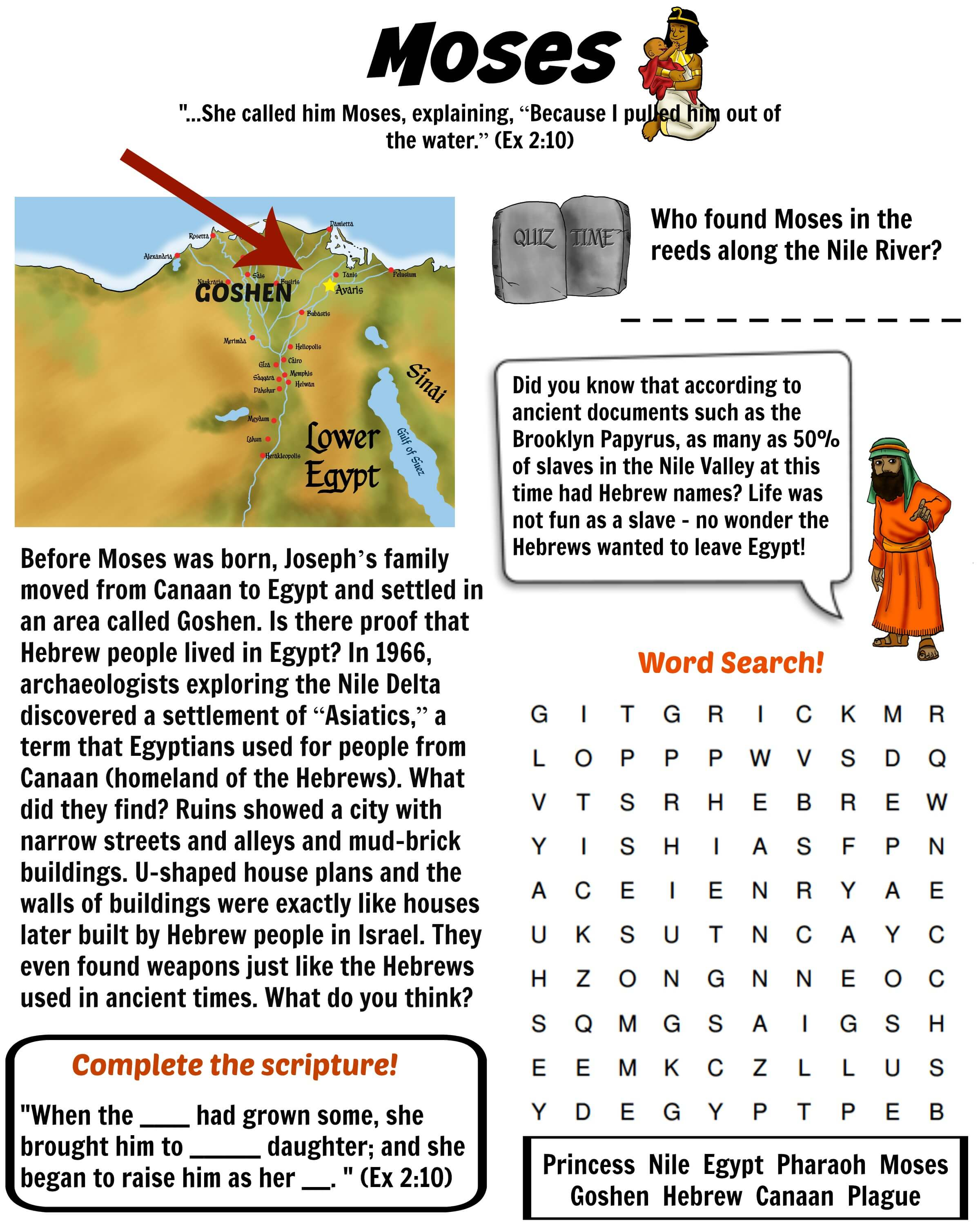 Free Bible Worksheet - Moses in the Land of Goshen