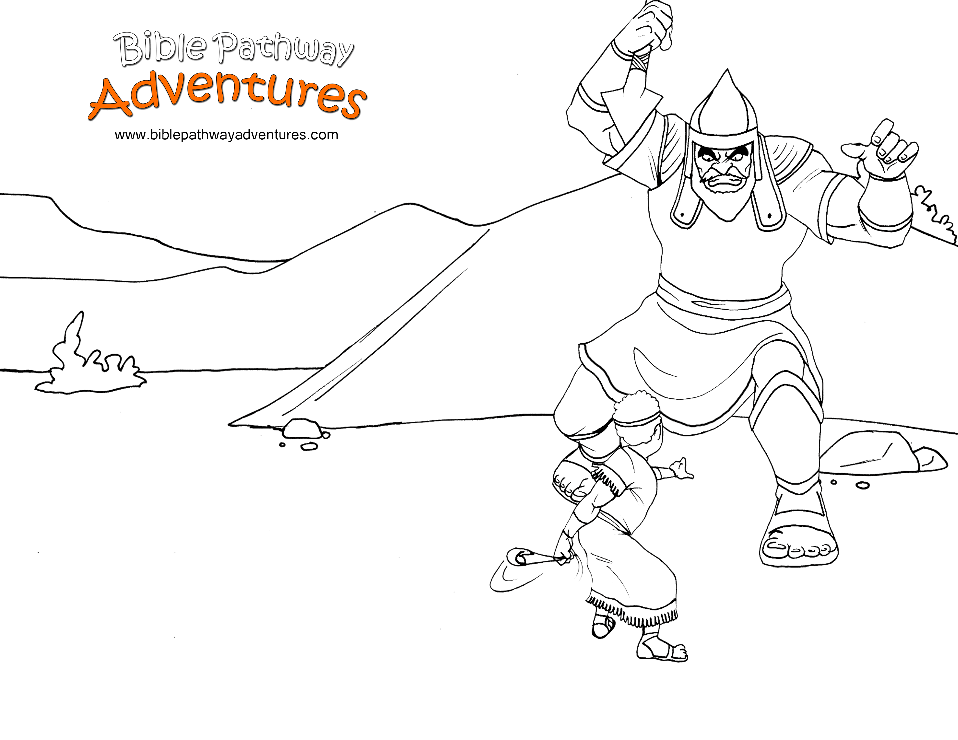 Free Bible Story Coloring Page - David and Goliath