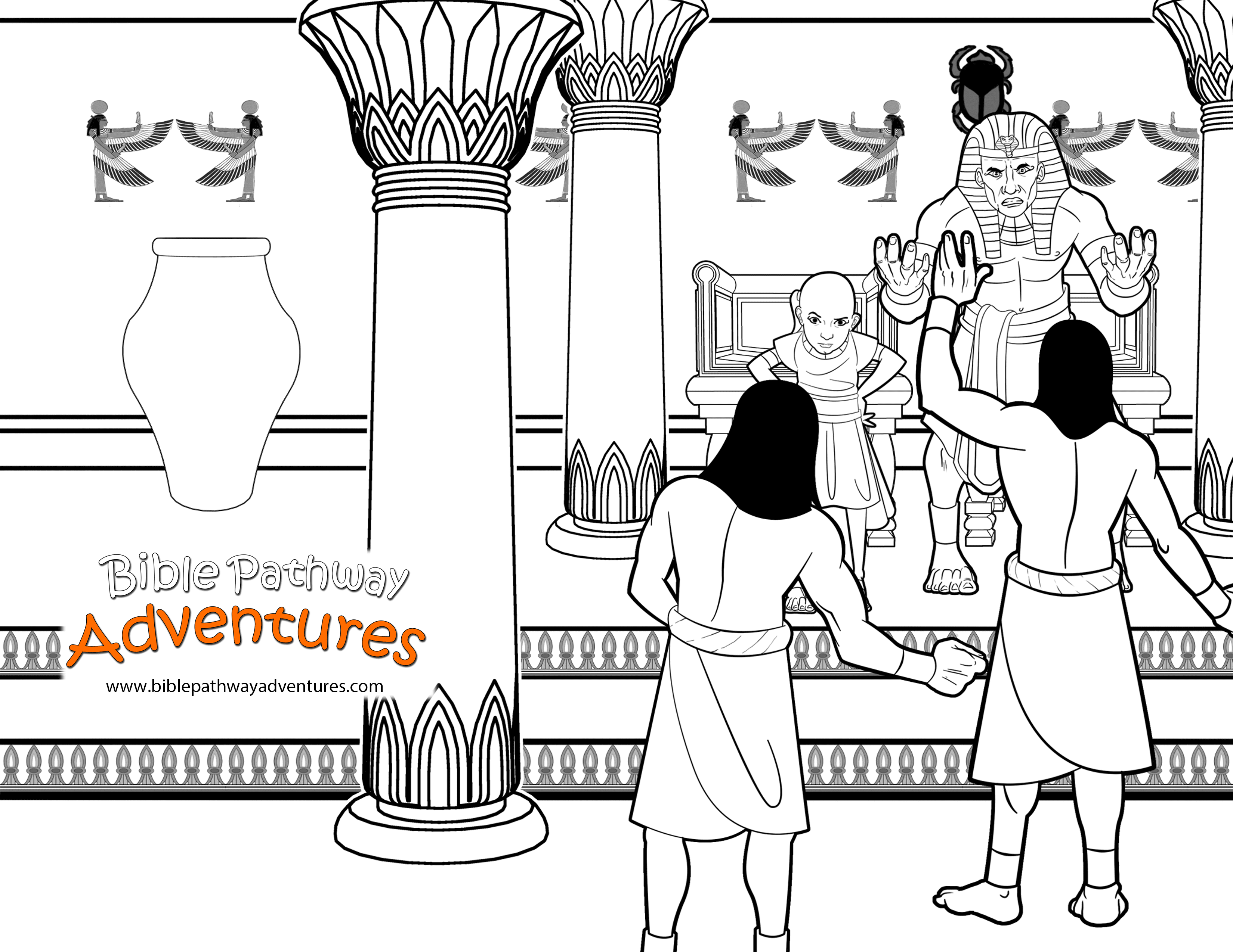 joseph king of dreams coloring pages   Free Bible Coloring Page: Pharaoh And His Magicians
