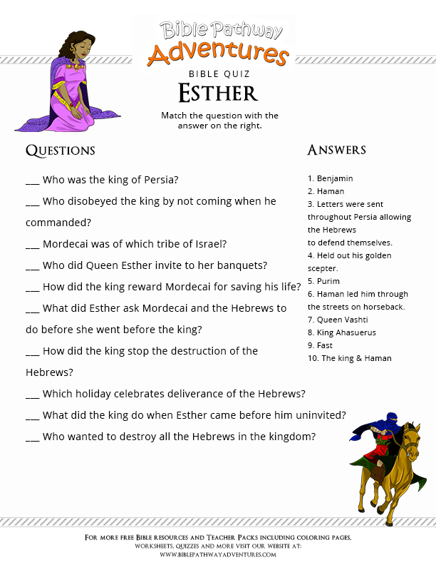 Bible Quiz for Kids: Esther and the King of Persia : Free ...