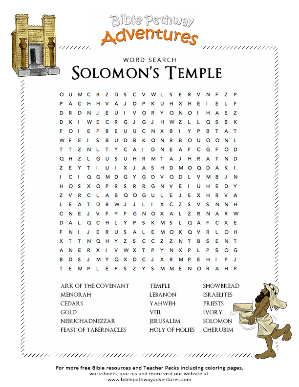 Bible Word Search Solomons Temple