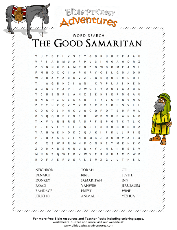 bible word search the good samaritan free download. Black Bedroom Furniture Sets. Home Design Ideas