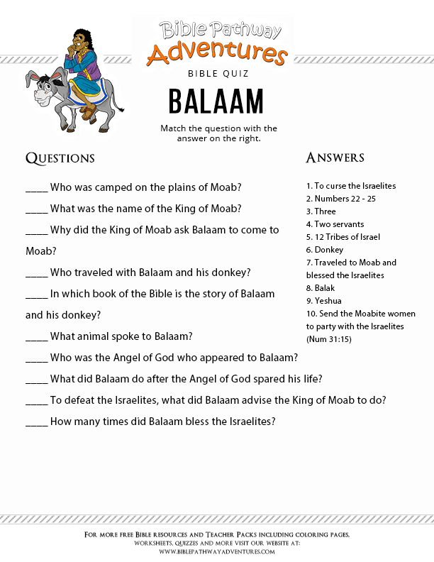 Bible Story Quiz For Kids Balaam Free Download