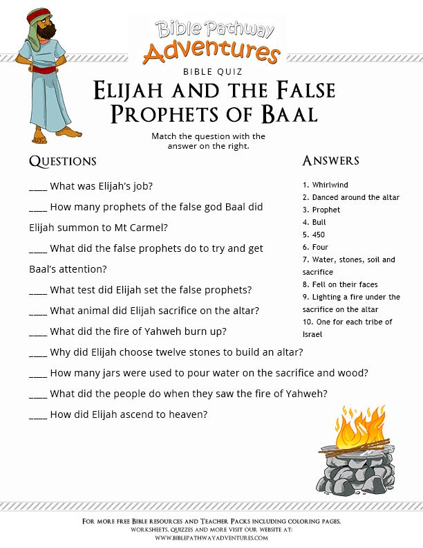 Bible Quiz Elijah And The False Prophets Of Baal