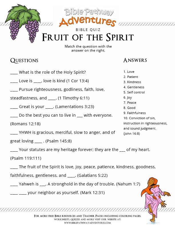 Printable Bible Quiz Fruit of the Spirit   Free Download