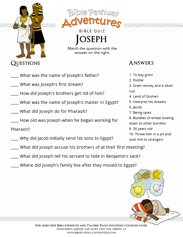 Printable Bible Quiz for Kids: Joseph : Free Download