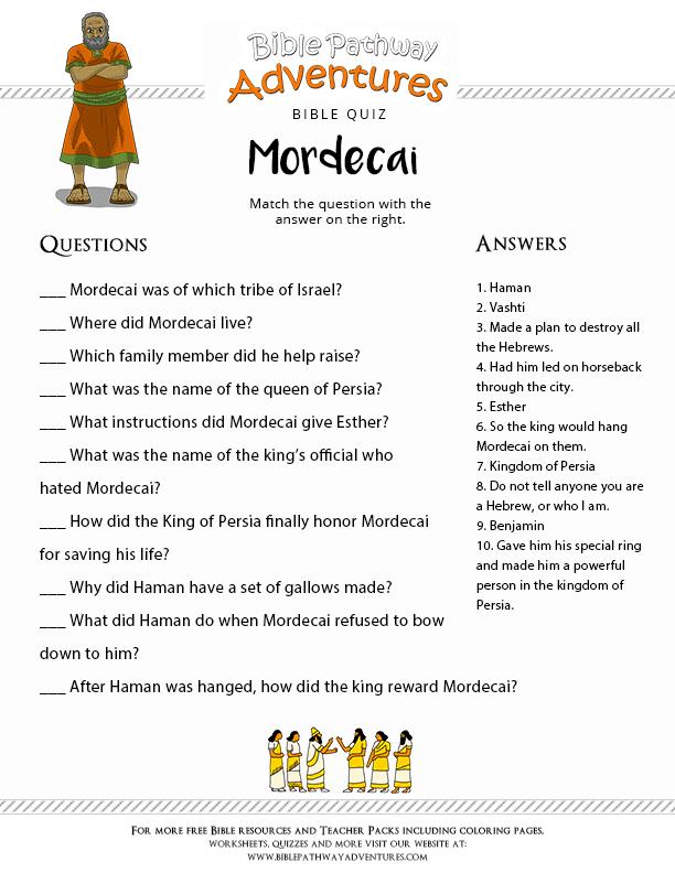 Bible Quiz for Kids Mordecai and