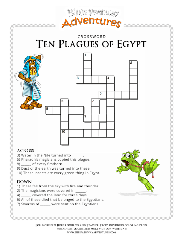 Bible Crossword Puzzle Ten Plagues Of Egypt