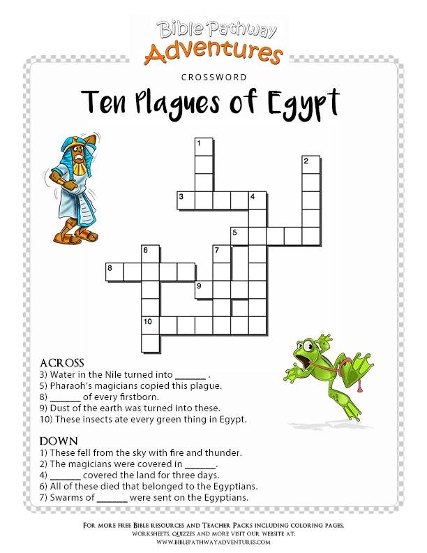 Bible Crossword Puzzle Ten Plagues Of Egypt