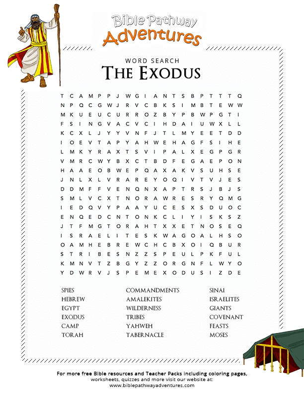 Bible Word Search: The Exodus - Path to Freedom | Free ...