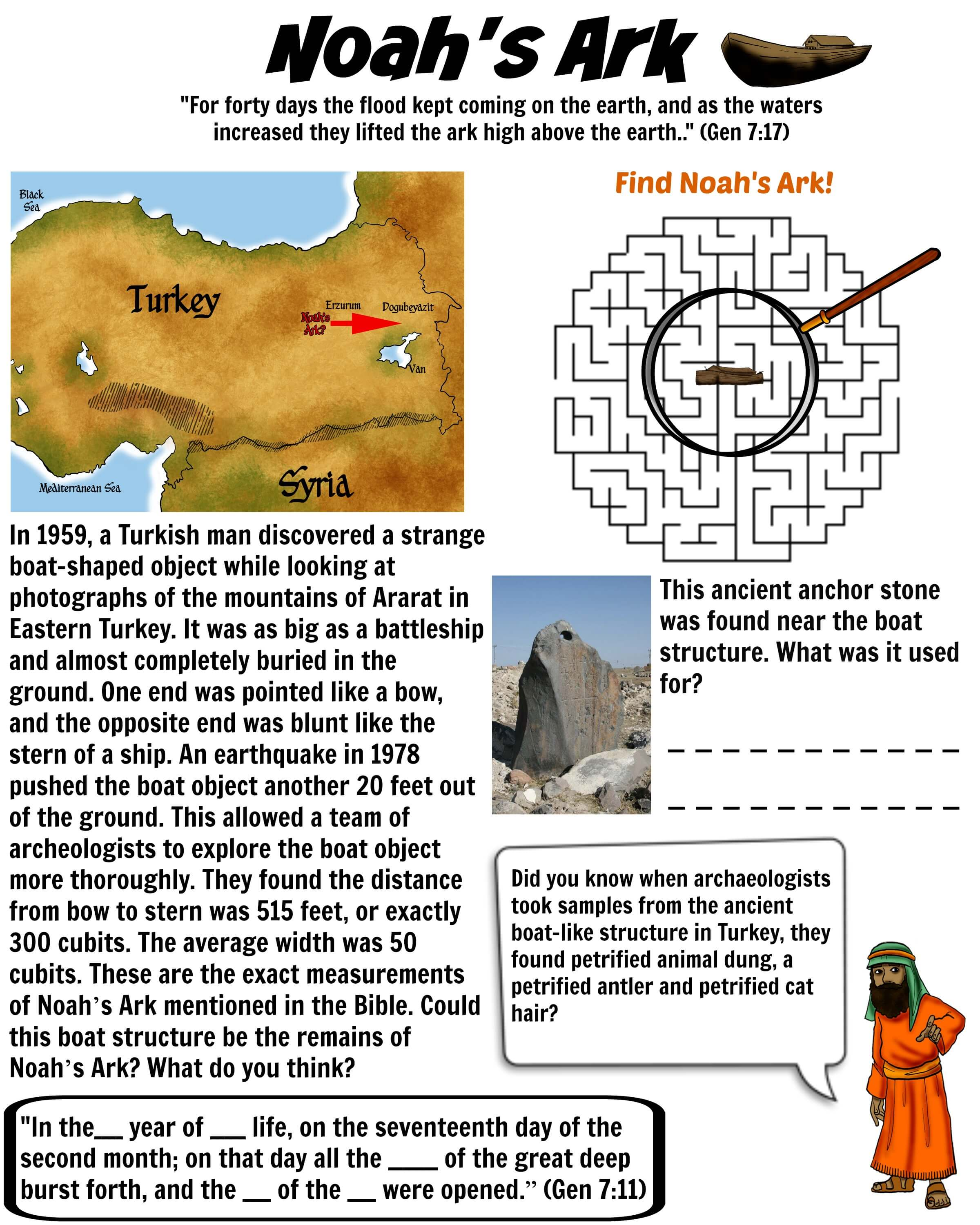 Noahu0026#39;s Ark evidence Bible worksheet for Kids : Free Download