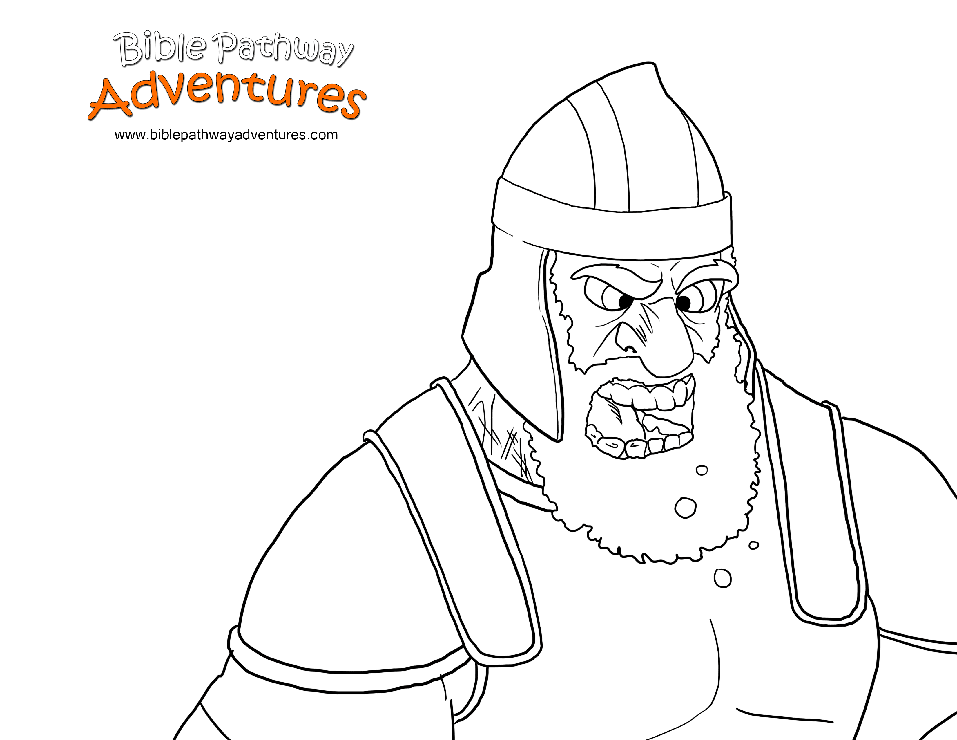 Free Bible Story Coloring Page The giant Goliath