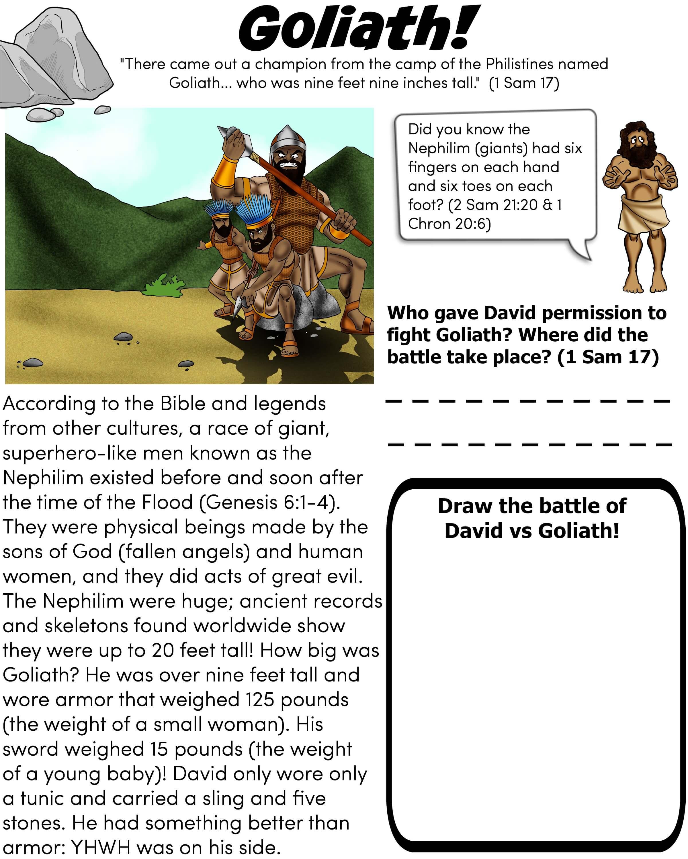 Free Printable Bible worksheet - Goliath