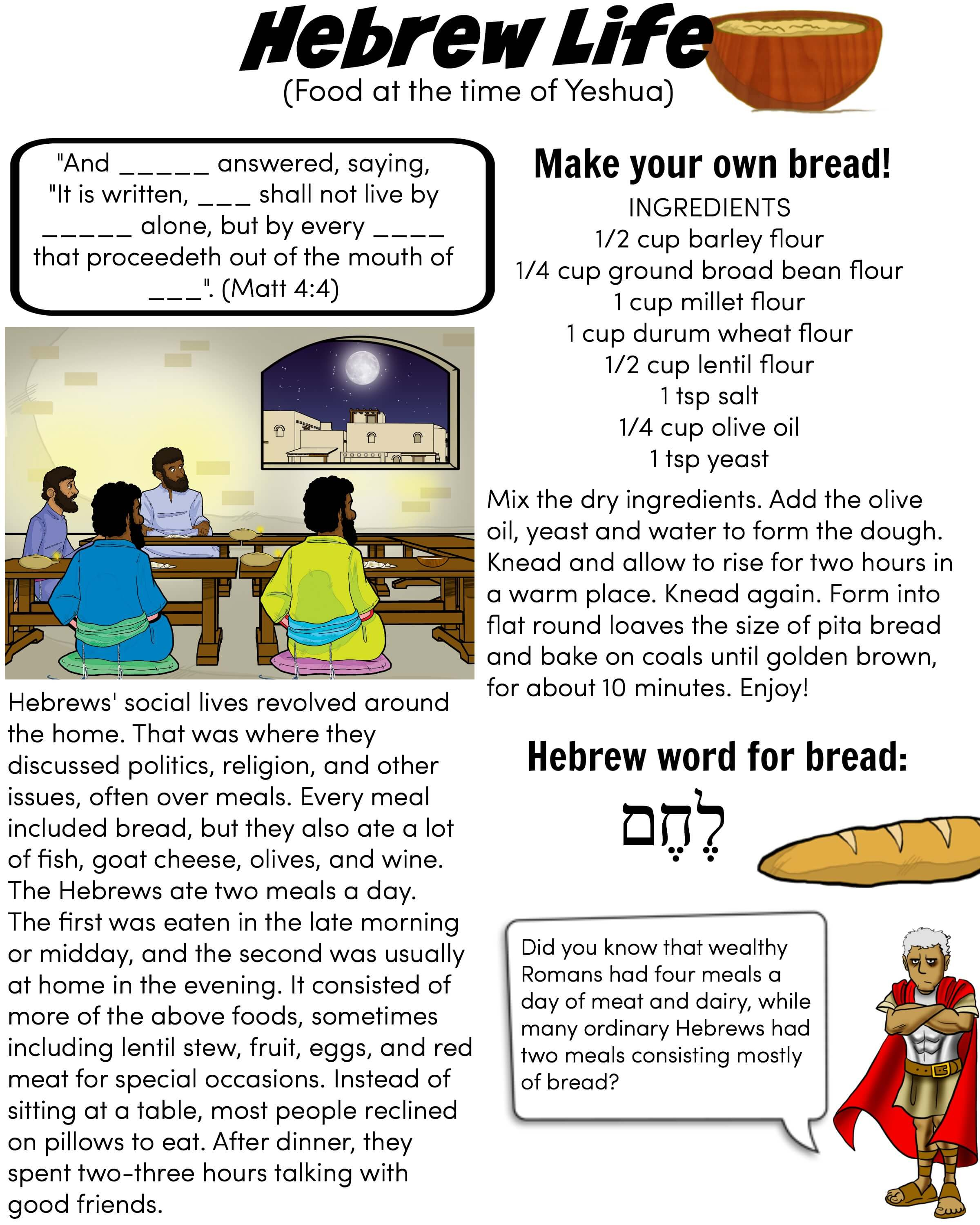 Hebrew Life: Hebrew food worksheet for kids : Free Download