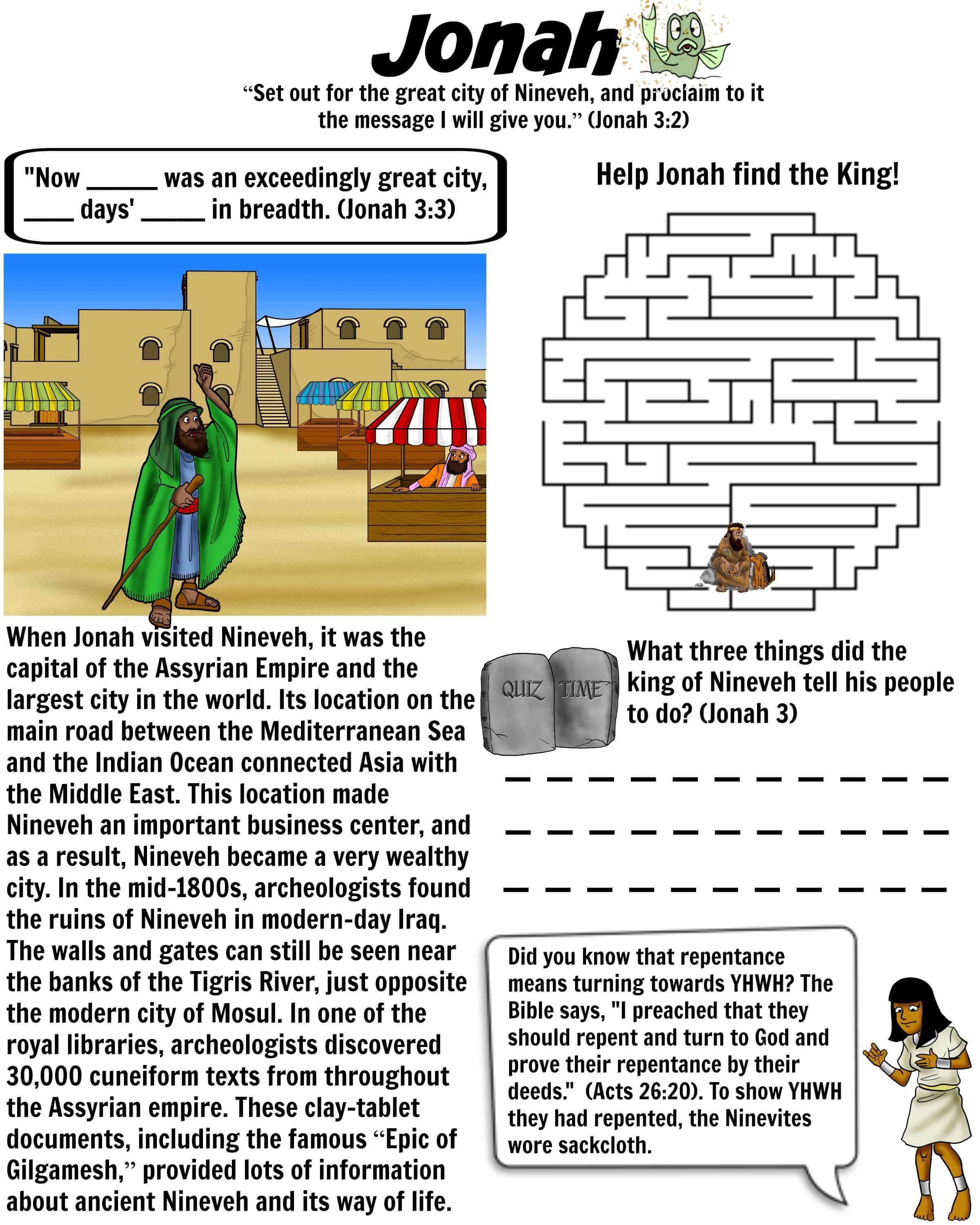 Printable Bible Worksheet - Jonah travels to Nineveh