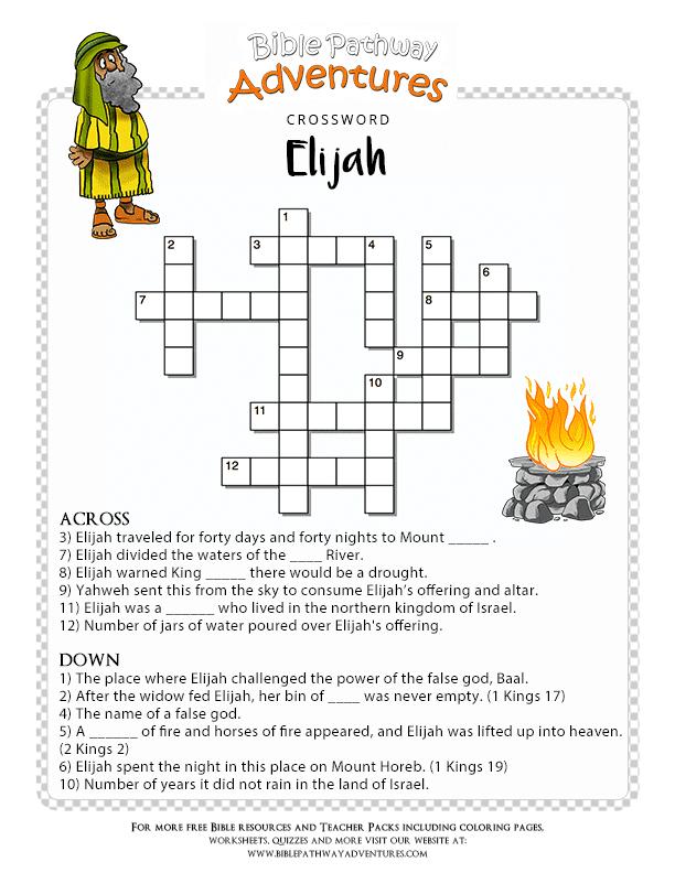 Bible Crossword Puzzle for Kids: Elijah | Free Download