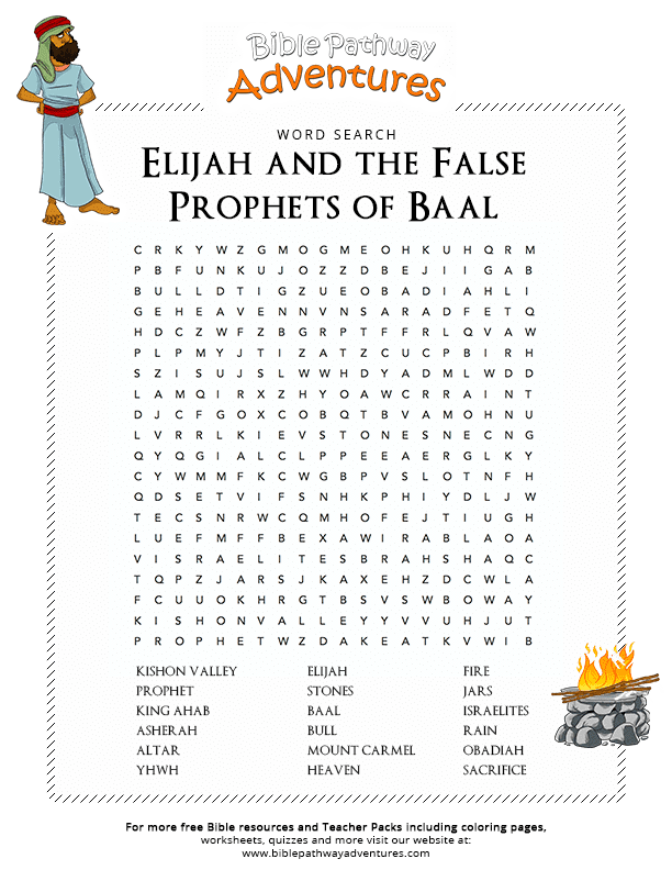 Bible Word Search Elijah False Prophets Baal