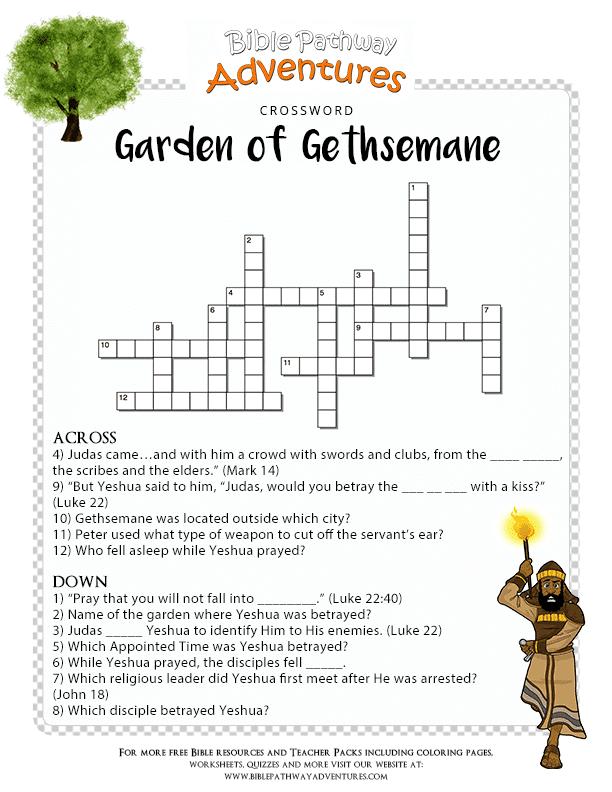 Bible Crossword Puzzle Garden Of Gethsemane Coloring Page Garden Of Gethsemane