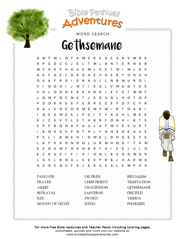 Bible Word Search Garden of Gethsemane
