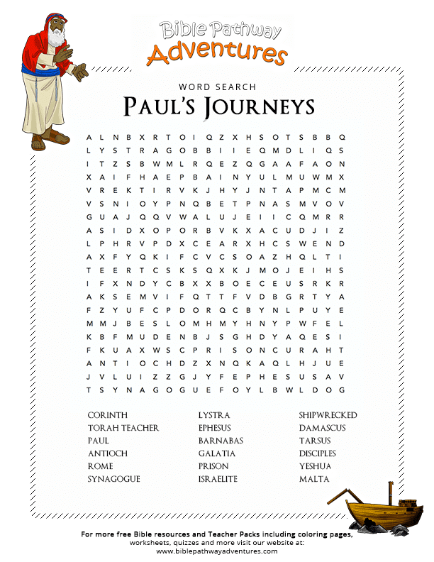 Bible Word Search Paul S Journeys Free Download