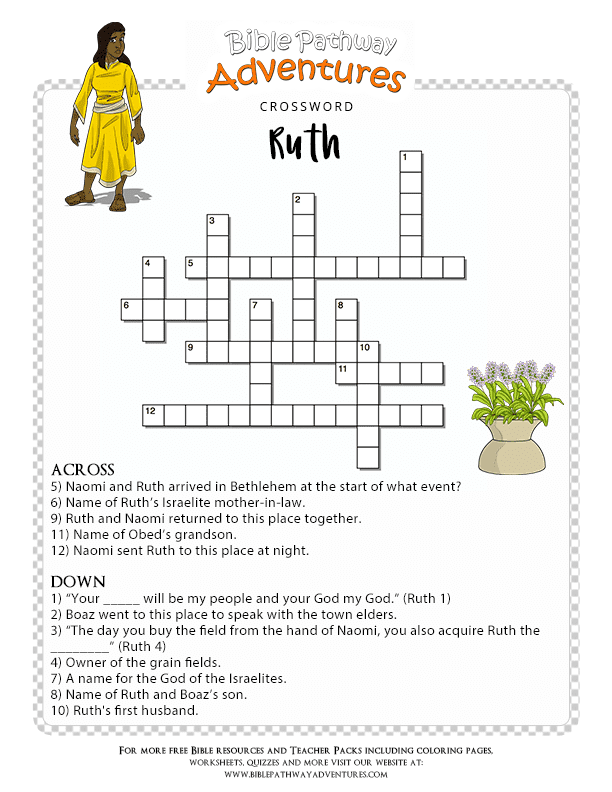 Printable Bible Crossword Puzzle Ruth