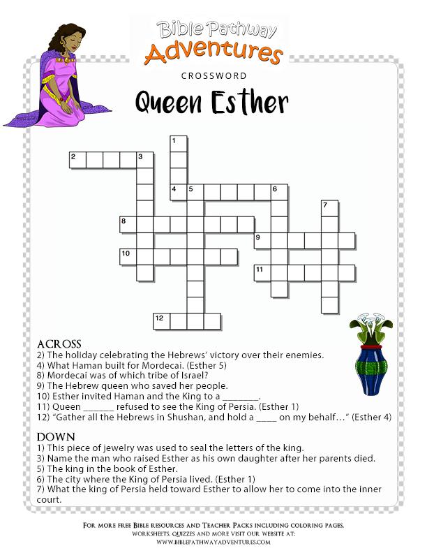 Bible Crossword Puzzle Queen Esther