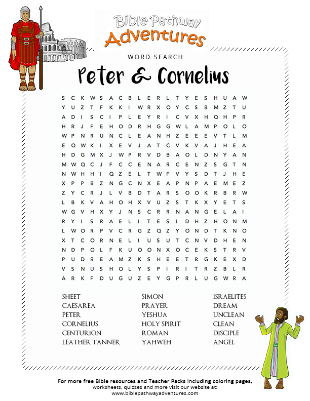 Bible Word Search Peter And Cornelius