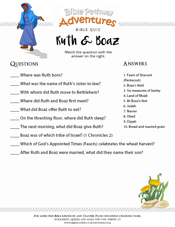 Bible Quiz for Kids: Ruth and Boaz | Free Download