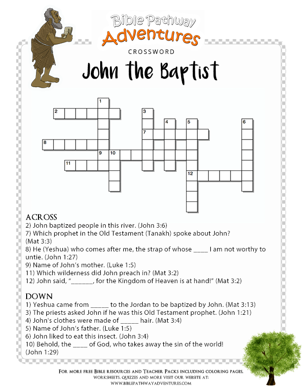 Bible Crossword John The Baptist