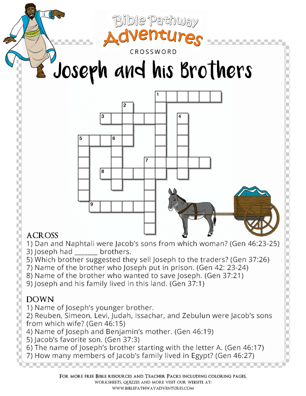 Bible Crossword Puzzle Joseph And His Brothers Free Download