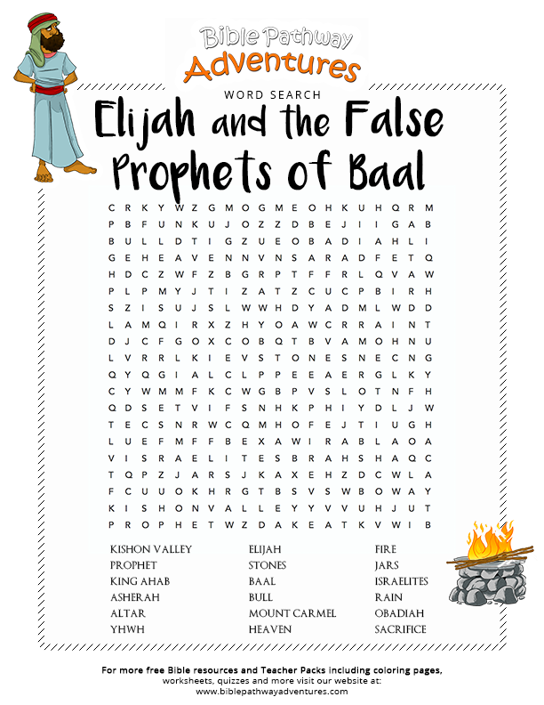Free Bible Word Search: Elijah and the False Prophets of Baal