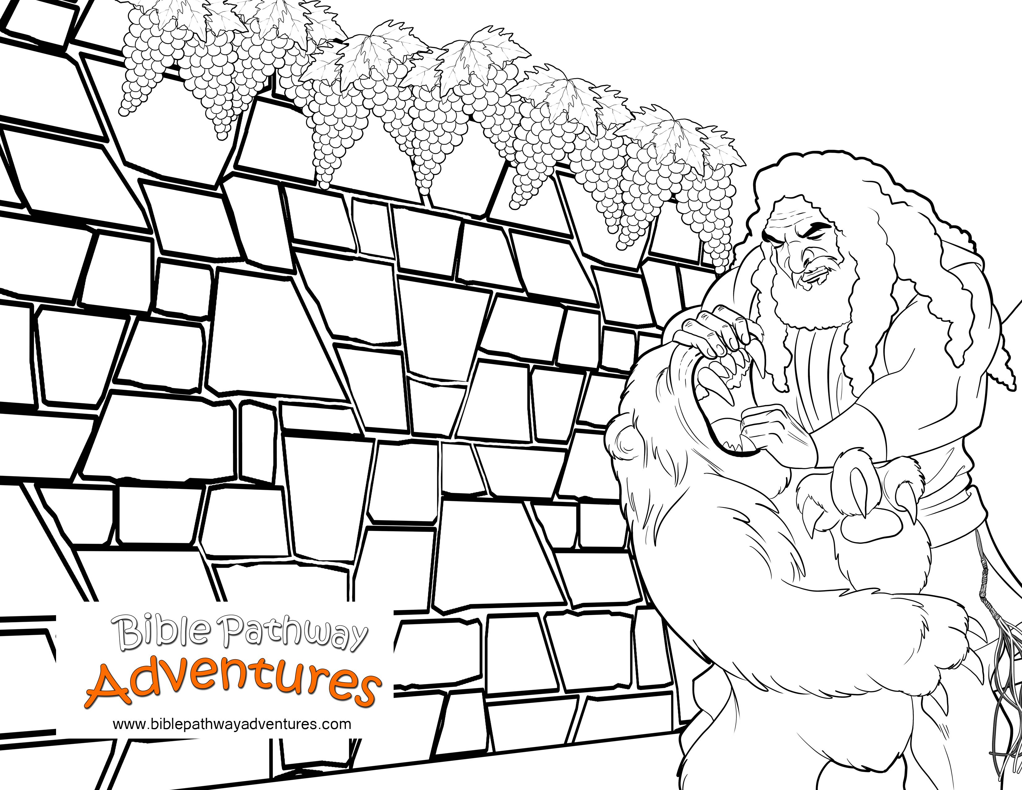 Bible coloring page samson and the lion free download for Samson bible coloring pages
