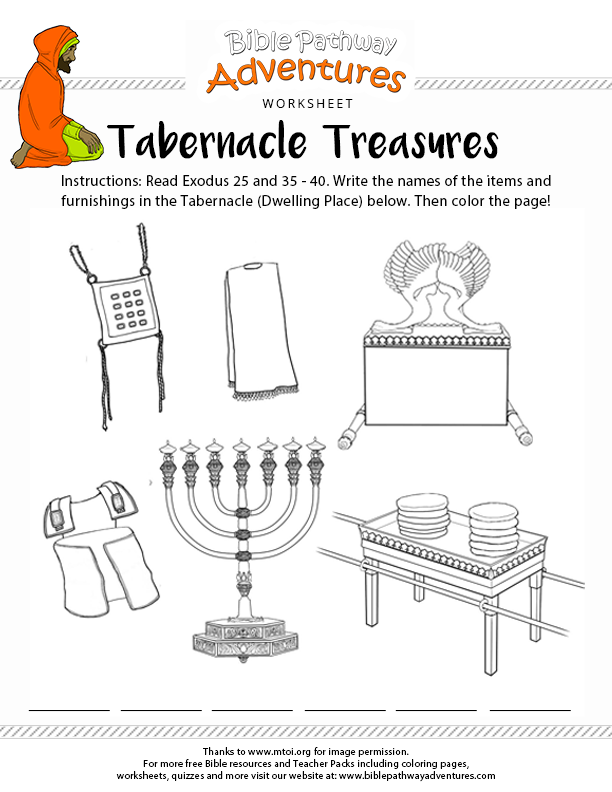Bible Worksheet: Tabernacle Treasures : Free Download
