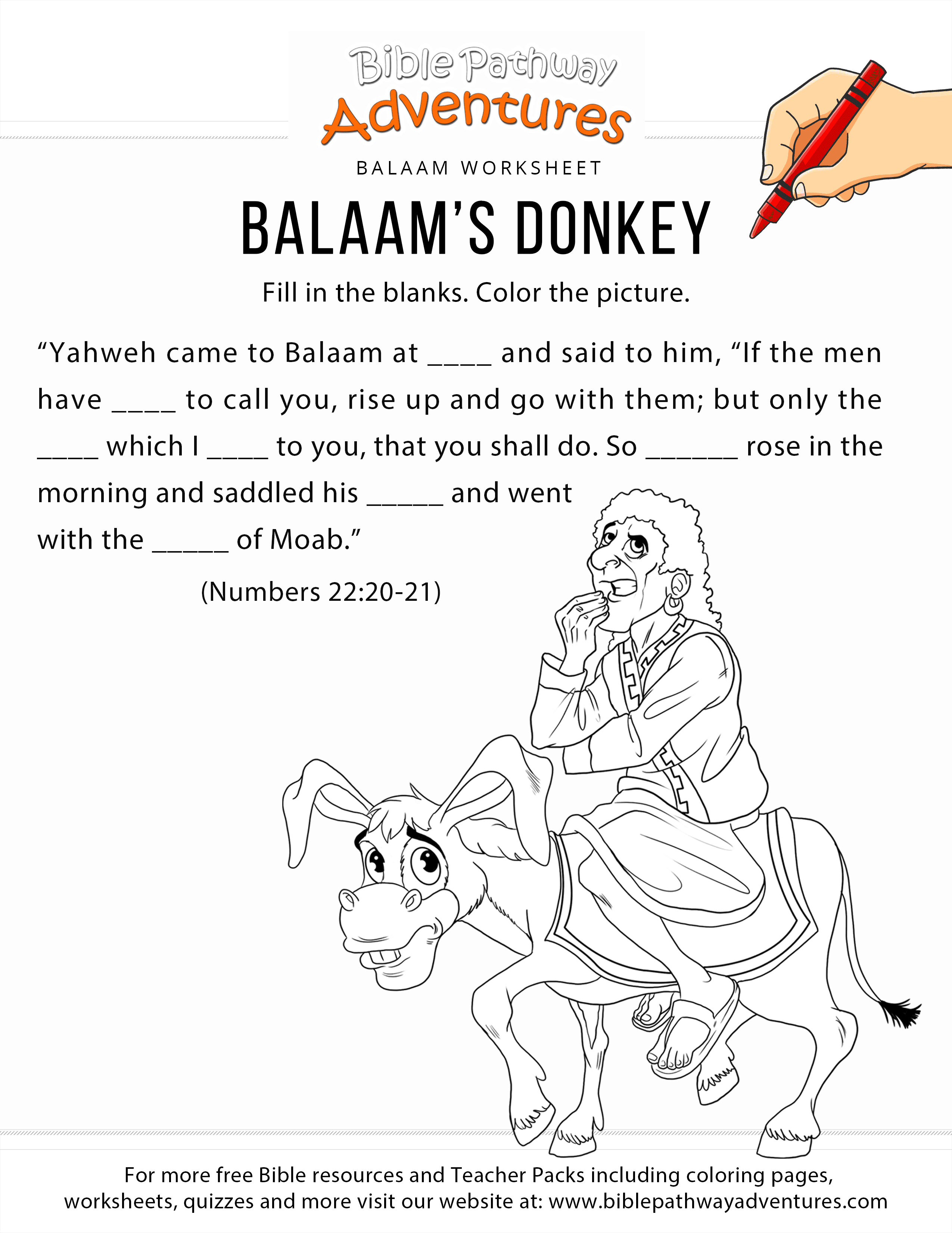 Balaam\'s Donkey worksheet and coloring page | Free Download