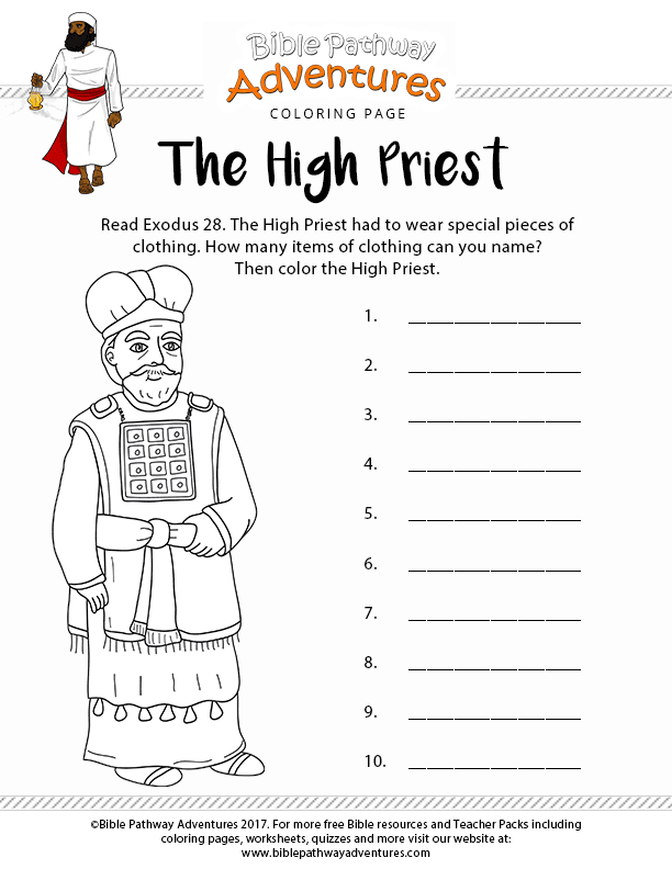 The High Priest Coloring Page | Free printable download
