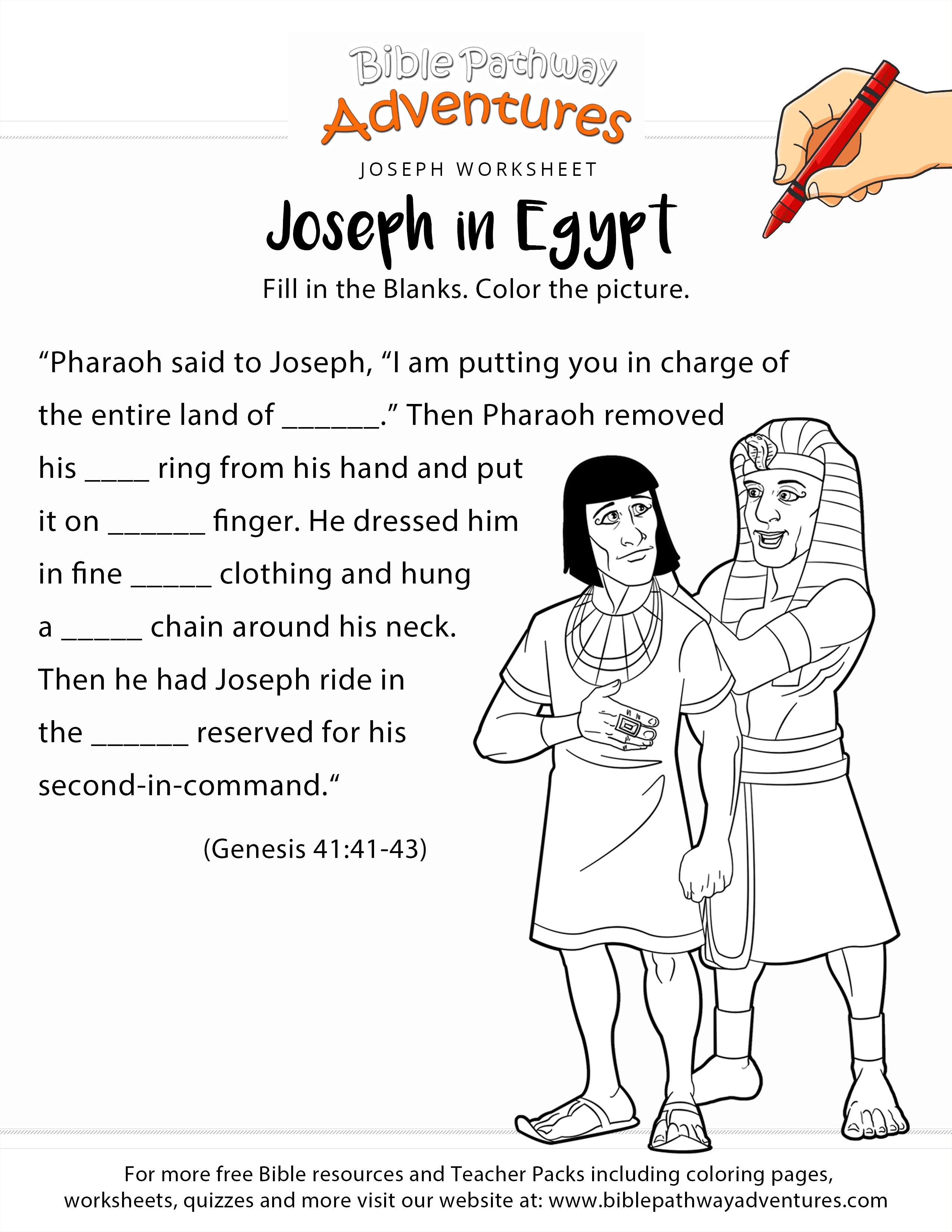Joseph in Egypt worksheet and coloring