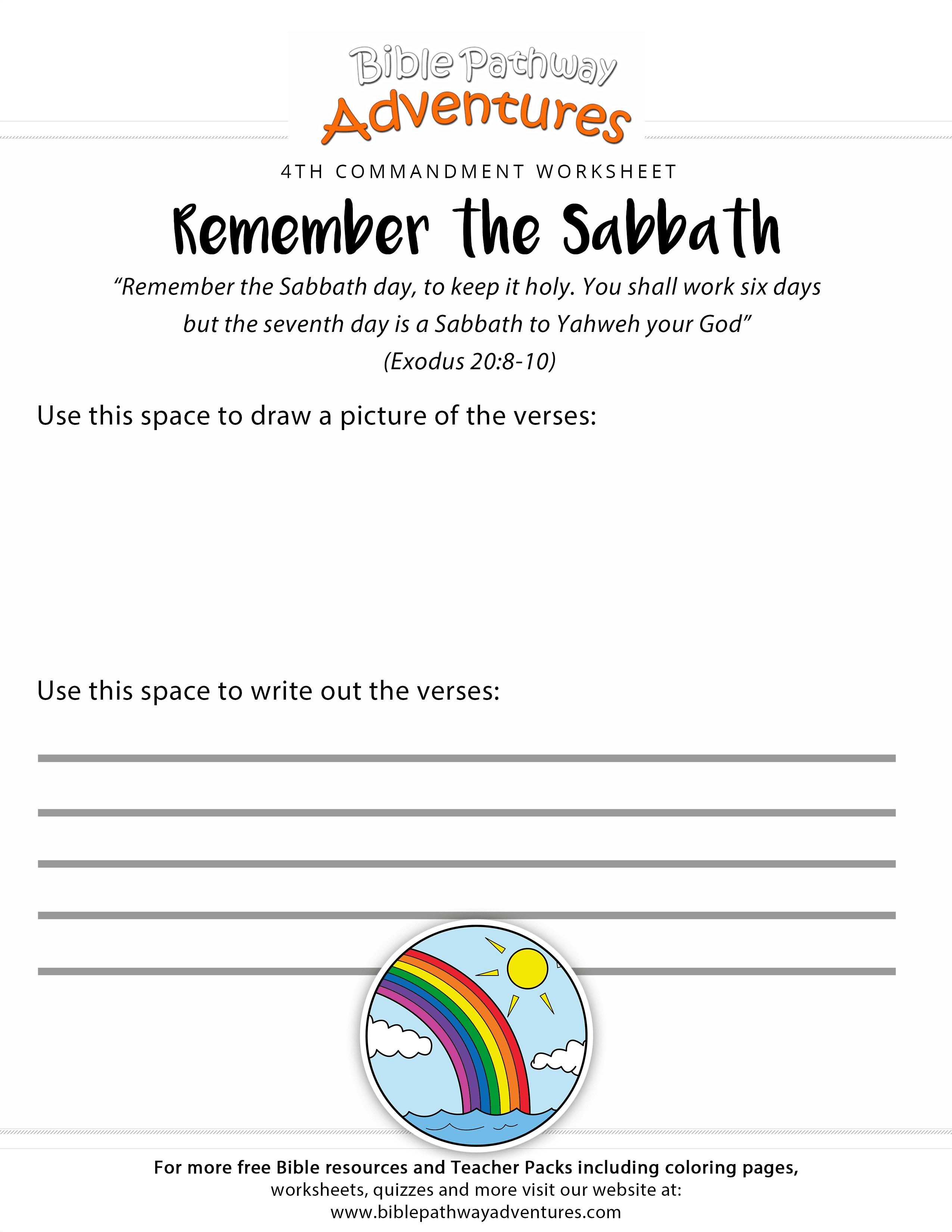 Ten Commandments worksheet Remember the Sabbath – 10 Commandments Worksheet