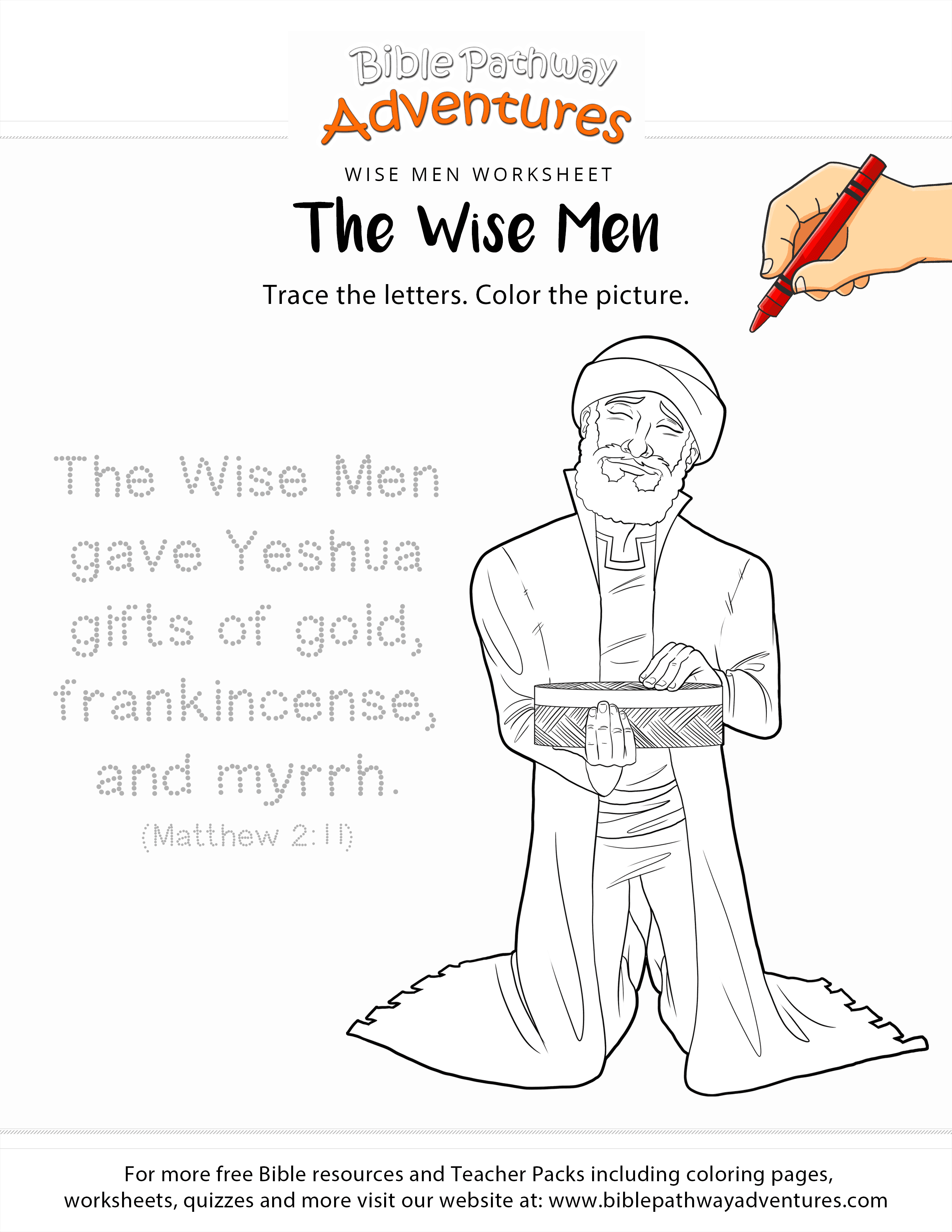 The Wise Men Copywork And Coloring Page Free Download Wise Coloring Page