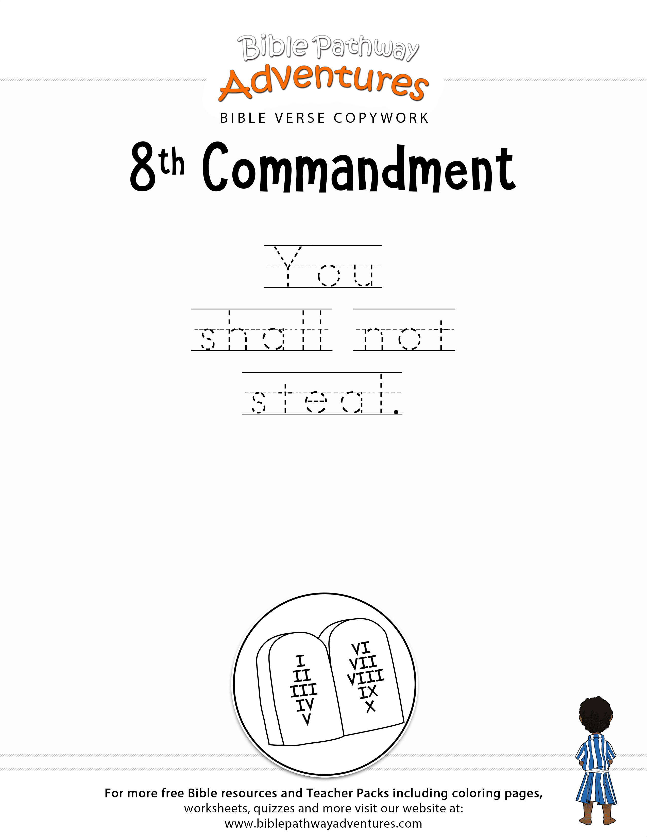 ten commandments copywork 8th commandment free download