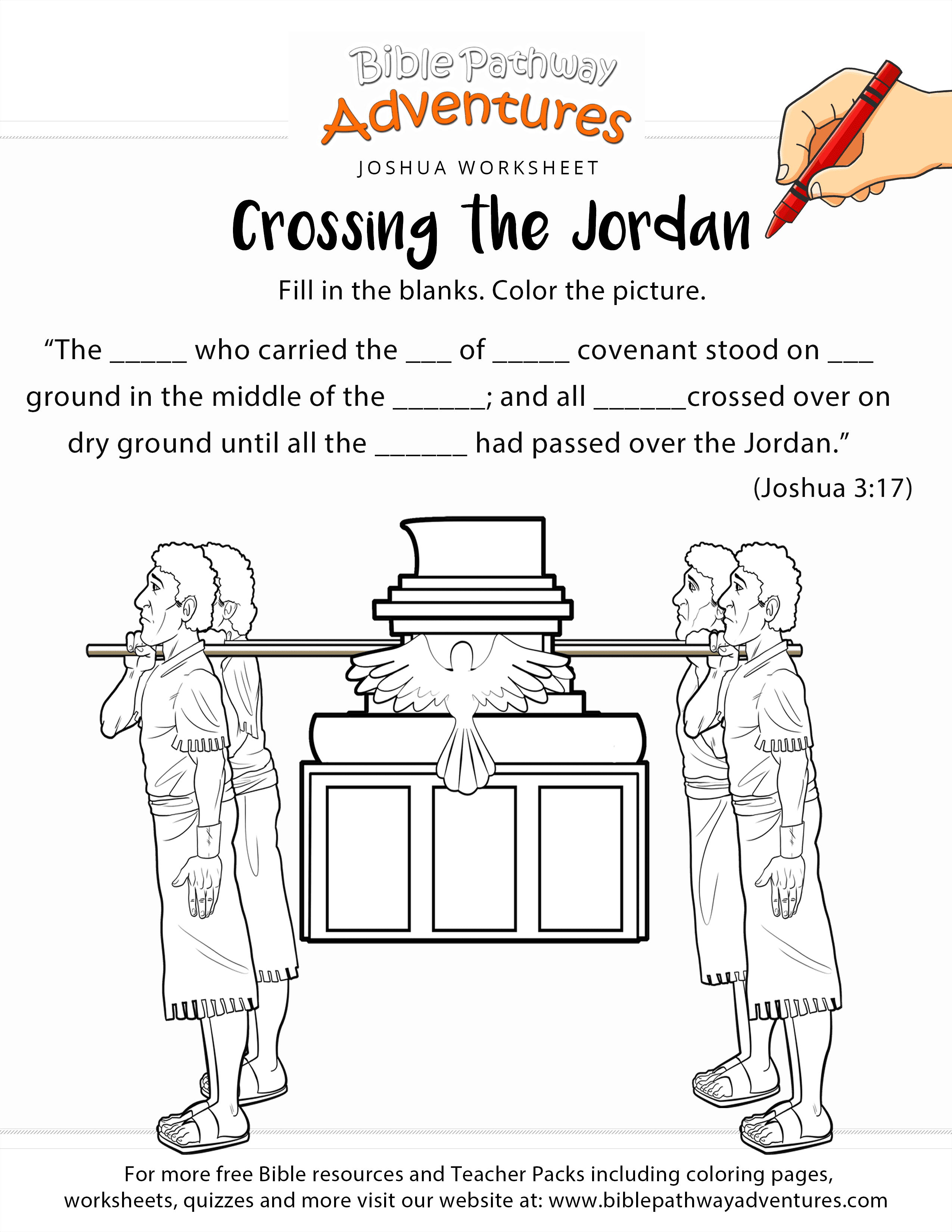 Crossing The Jordan Worksheet And Coloring Page