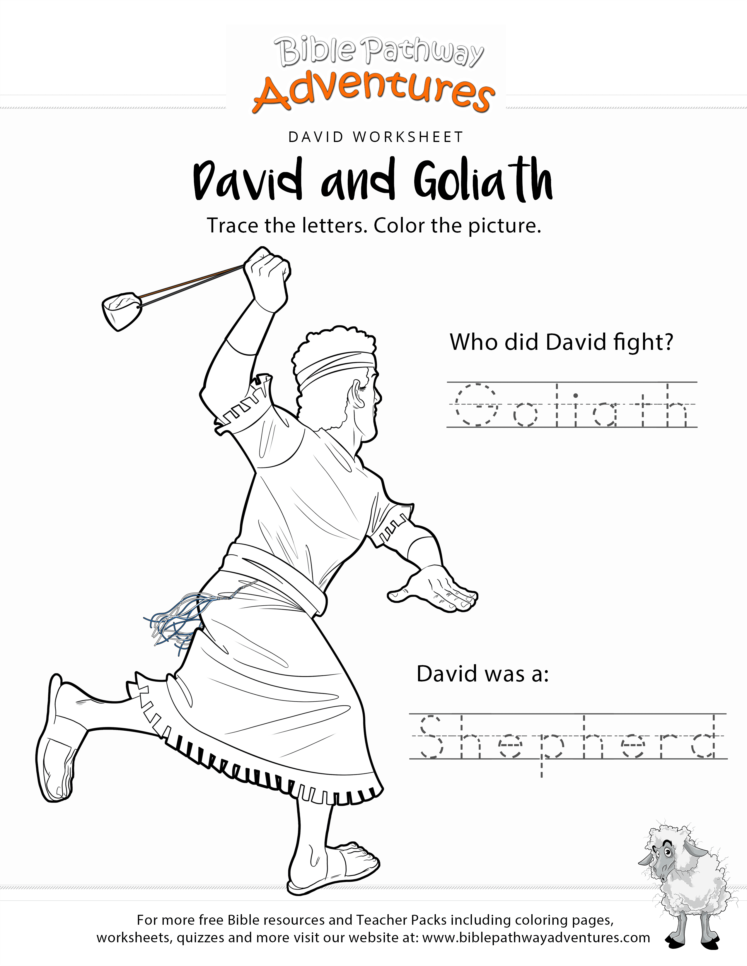 David Goliath Copy And Coloring Page