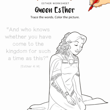 queen esther copywork and coloring page - Esther Bible Story Coloring Pages